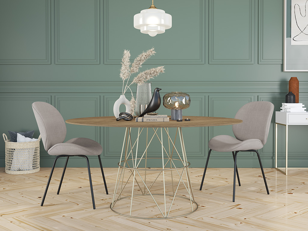 6 8 Round Seater Dining Table Tessu Vintage Brown Top Gold Legs Dining Room Kitchen Furniturespot