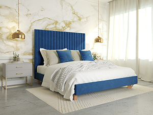 Platform Bed Sirius Eclipse Blue Velvet