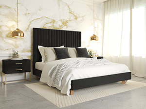 Platform Bed Sirius Phantom Black Velvet