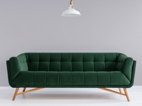 Margot 3 seater Couch in green velvet