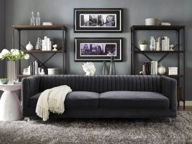Paven - 3 Seater Couch Black Velvet