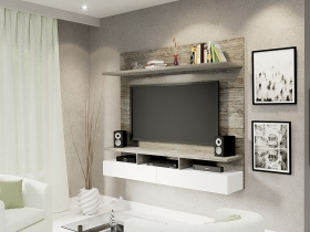 Floating TV Wall Unit - Vela Aged Stone 2 Tone
