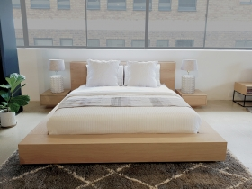 Antares White Oak Floating Platform Bed