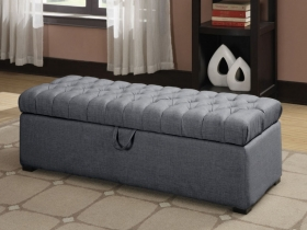 Asare Tufted Storage Ottoman - Grey
