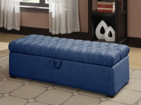 Asare Tufted Storage Ottoman - Blue