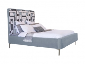 Platform Bed - Mpho Steel Grey Velvet