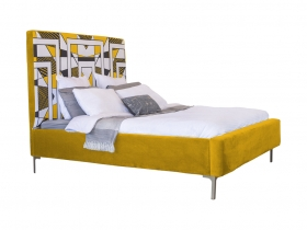 Platform Bed - Mpho Honey Yellow Velvet