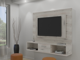 Floating TV Wall Unit - Gemini Nordic Ice 1 Tone Double Back