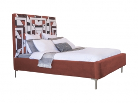 Platform Bed - Mpho Bordeaux Red Velvet
