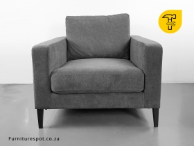 Syrin 1 Seater Couch - Mayfair Graphite Grey Fabric