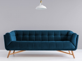 Margot 3 seater couch in blue velvet