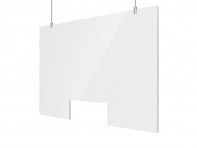 Retail Sneeze Screen Suspended incl Suspension kit 1200W x 750H - with cut out