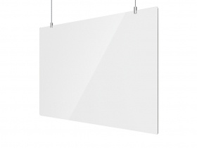 Office Sneeze Screen Suspended incl Suspension kit 1200W x 750H