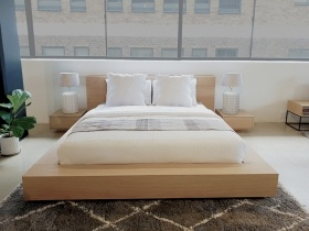 Antares Oak Bed Set with 2 Pedestals