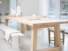 Dining Table  - Solid wooden table top with wooden legs
