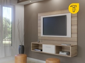 Floating TV Wall Unit   Gemini Sahara 2 Tone Double Back