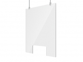Retail Sneeze Screen Suspended incl Suspension kit 660W x 750H - with cut out