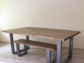 Dining Table - Wooden table top with U-steel legs