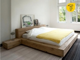 Headboard & Bed - Floating Bed With Pedestal Antares