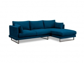 Ritz Corner Chaise Couch - Nile Blue Velvet