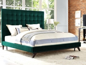 Headboard & Bed  - Green Velvet Square Buttoned