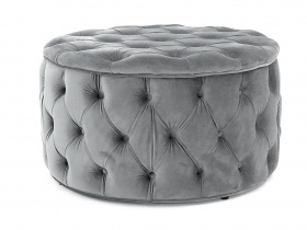 Julianne Round Tufted Storage Ottoman - Grey (large)