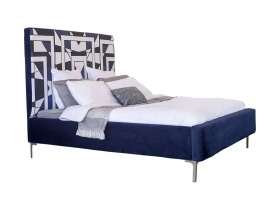 Platform Bed - Mpho Navy Blue Velvet