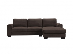 Cosmopolitan Corner Chaise Couch- Espresso Brown Fabric