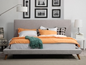 Platform Bed - Delphinus Grey Headboard with Bed Base