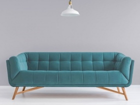 Margot 3 seater couch in heaven blue velvet