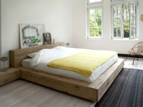 Platform bed - White oak  floating platform bed