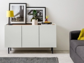 Madera Server Glossy White on Charcoal Legs