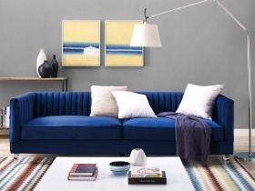 Paven - 3 Seater Couch Blue Velvet