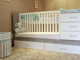 Sarah 3 in 1 Cot/Single Bedroom (Free mattress included)