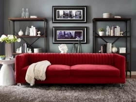Paven - 3 Seater Couch Red Velvet