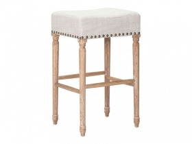 Bar stool with wooden rustic legs and finished with nails