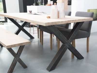 Wooden Table With Steel X Legs