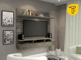 Floating TV Wall Unit - Vela Aged Stone 1 Tone