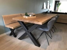 Dining Table - Wooden Table Top With Steel X-legs