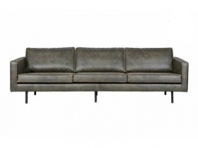 Sofa - Green Leather 3 Seater