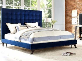 Headboard - Blue Velvet Square Buttoned Headboard & Bed