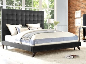 Headboard & Bed - Grey Velvet Square Buttoned