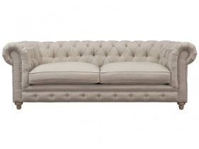 Branagh - 3 Seater Linen Chesterfield Couch Creme White