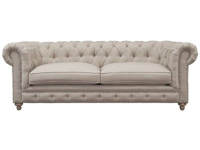 Branagh 3 Seater Linen Chesterfield Couch Creme White Couches