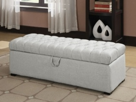 Asare Tufted Storage Ottoman - Cream