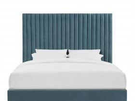 Headboard & Bed - Aqua Blue Vertical Striped Bed & Headboard