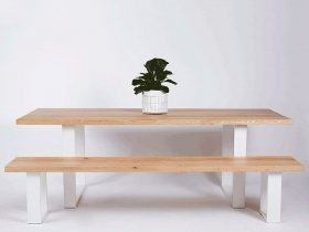 Dining table - Wooden table with White U-steel legs