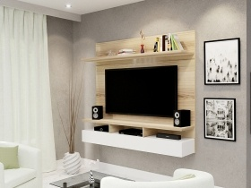 Floating TV Wall Unit - Vela Sahara 2 Tone