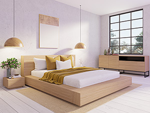Floating Platform Bed Antares Oak Clear Finish