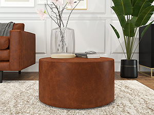 Round Coffee Table Galaxy Tan Premium leather